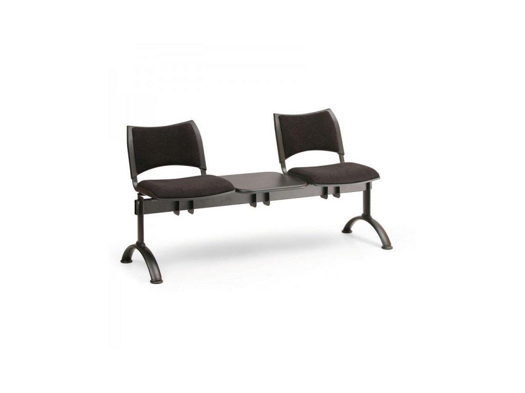 Čalouněná lavice SMART, 2-sedák + stolek - černé nohy / Oranžová