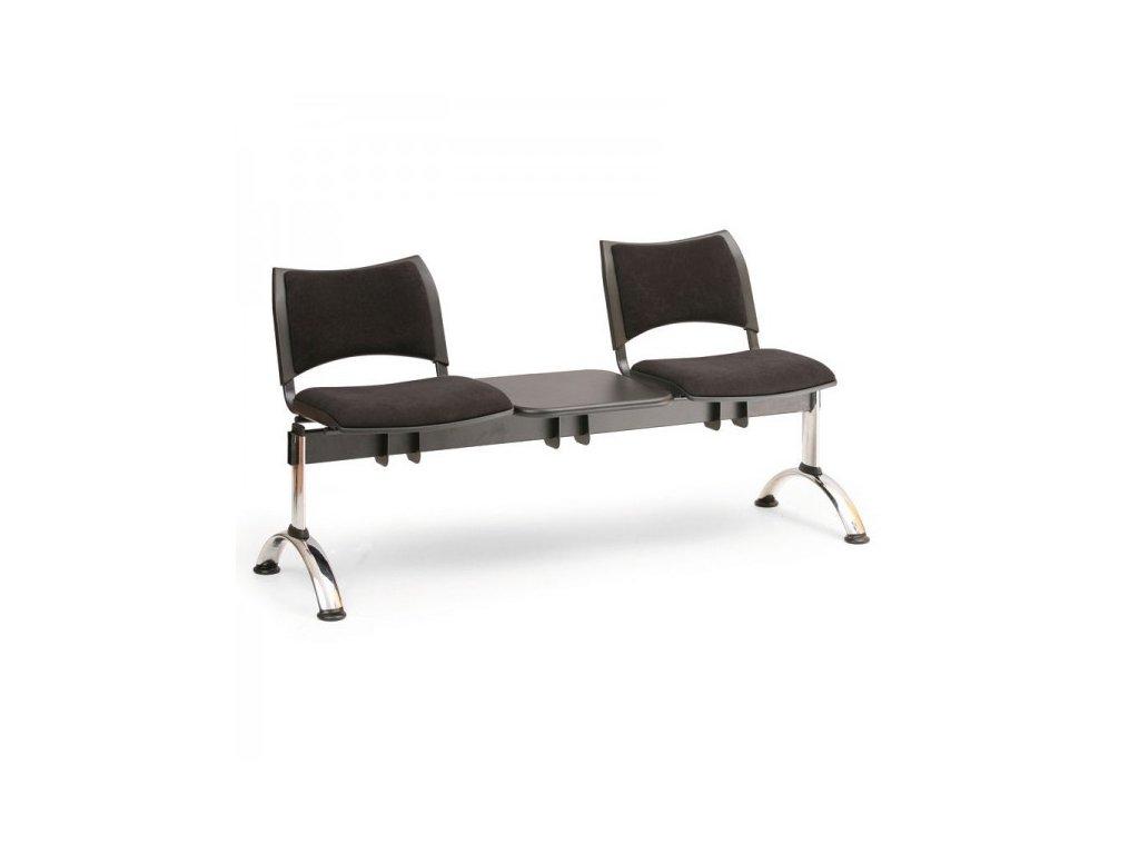 Čalouněná lavice SMART, 2-sedák + stolek - chromované nohy / Modrá