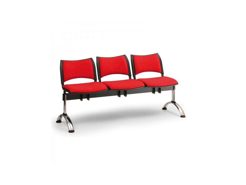 Čalouněná lavice SMART, 3-sedák - chromované nohy / Oranžová