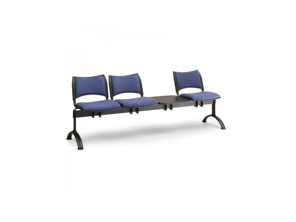 Čalouněná lavice SMART, 3-sedák + stolek - černé nohy / Modrá