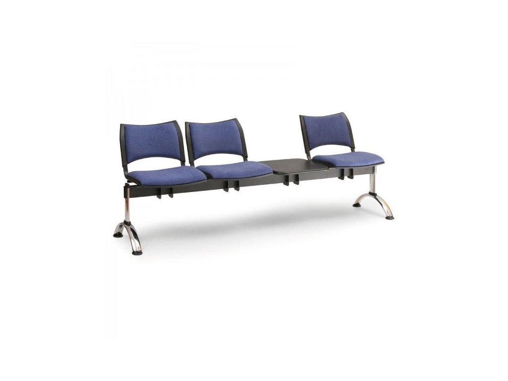 Čalouněná lavice SMART, 3-sedák + stolek - chromované nohy / Modrá