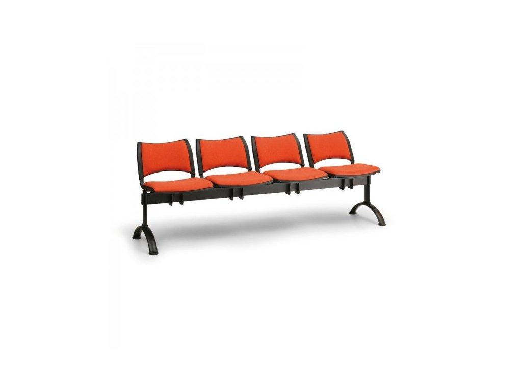 Čalouněná lavice SMART, 4-sedák - černé nohy / Oranžová