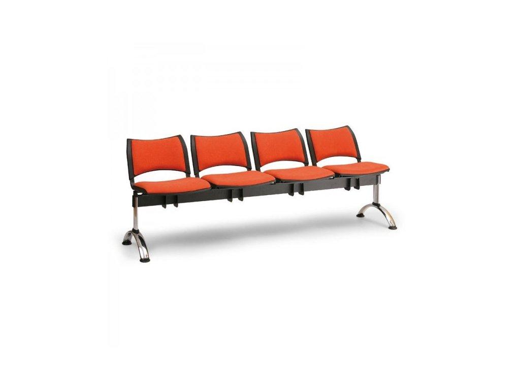 Čalouněná lavice SMART, 4-sedák - chromované nohy / Červená