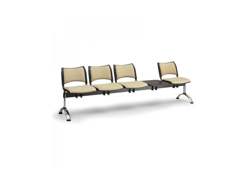 Čalouněná lavice SMART, 4-sedák + stolek - chromované nohy / Červená