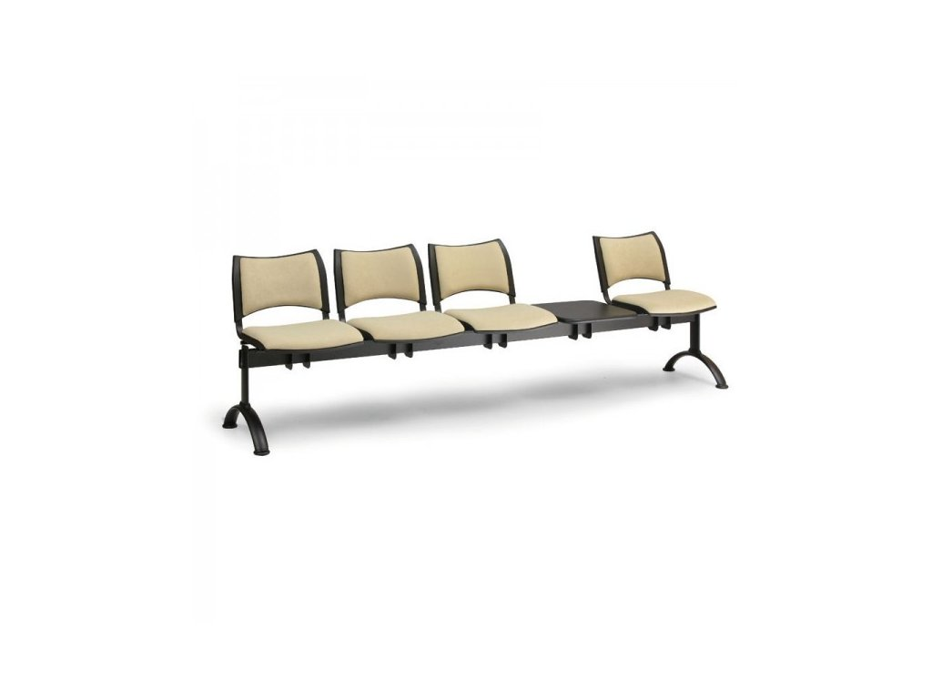 Čalouněná lavice SMART, 4-sedák + stolek - černé nohy / Šedá