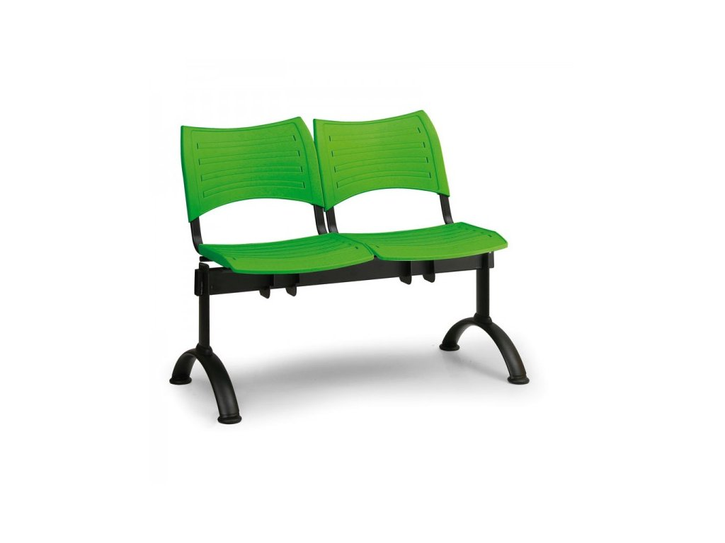 Plastová lavice VISIO, 2-sedák - černé nohy