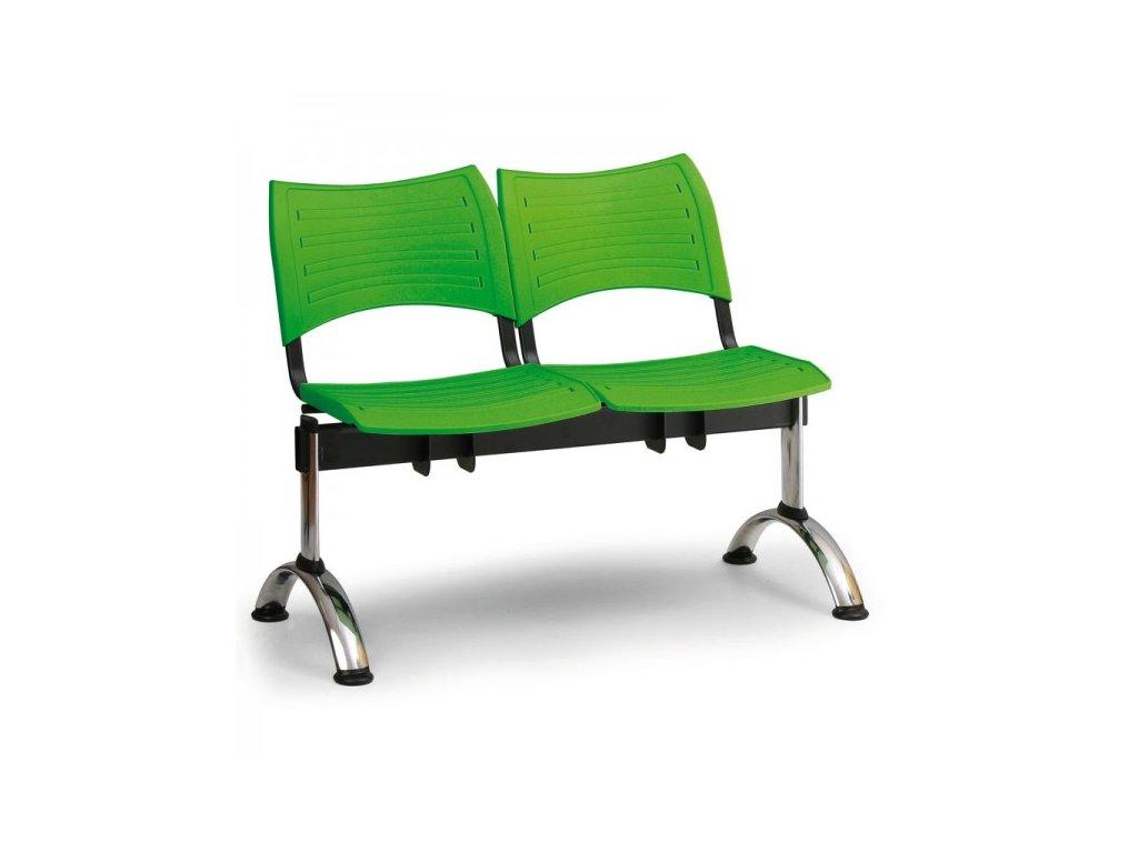 Plastová lavice VISIO, 2-sedák - chromované nohy