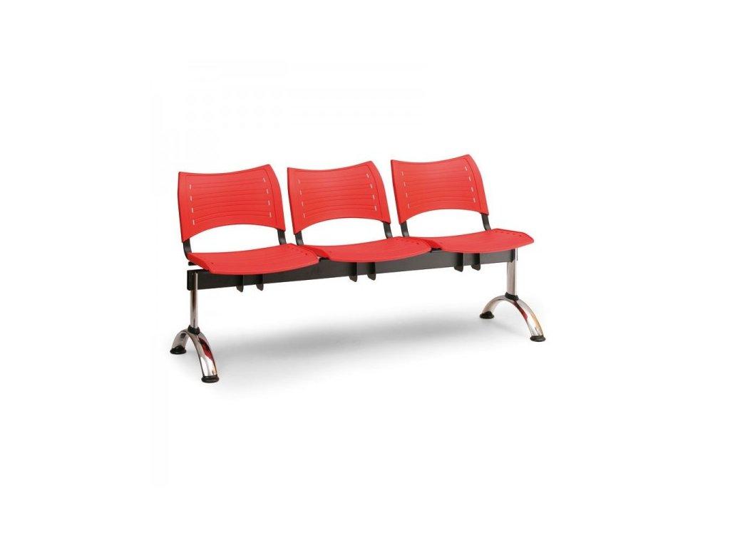Plastová lavice VISIO, 3-sedák - chromované nohy