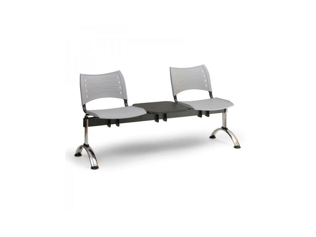 Plastová lavice VISIO, 2-sedák + stolek - chromované nohy