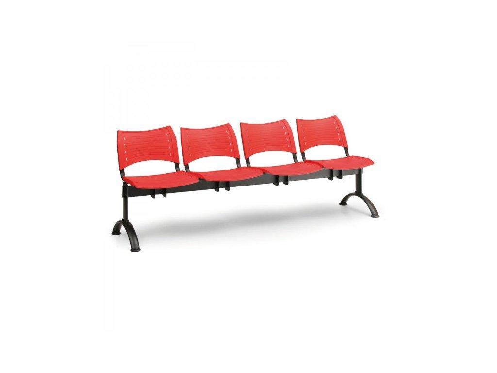 Plastová lavice VISIO, 4-sedák - černé nohy
