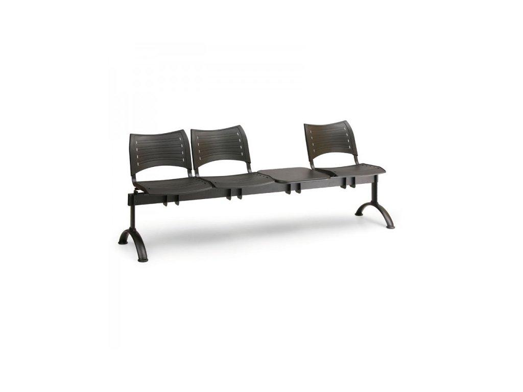 Plastová lavice VISIO, 3-sedák + stolek - černé nohy