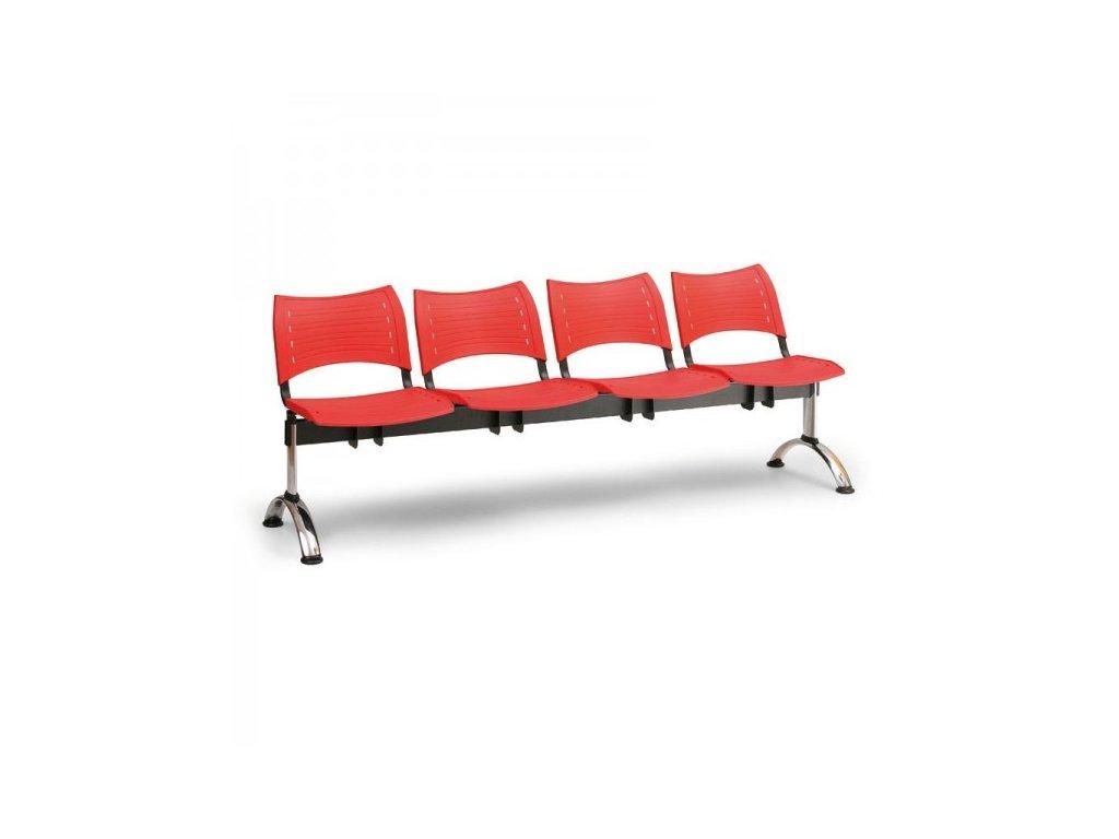 Plastová lavice VISIO, 4-sedák - chromované nohy