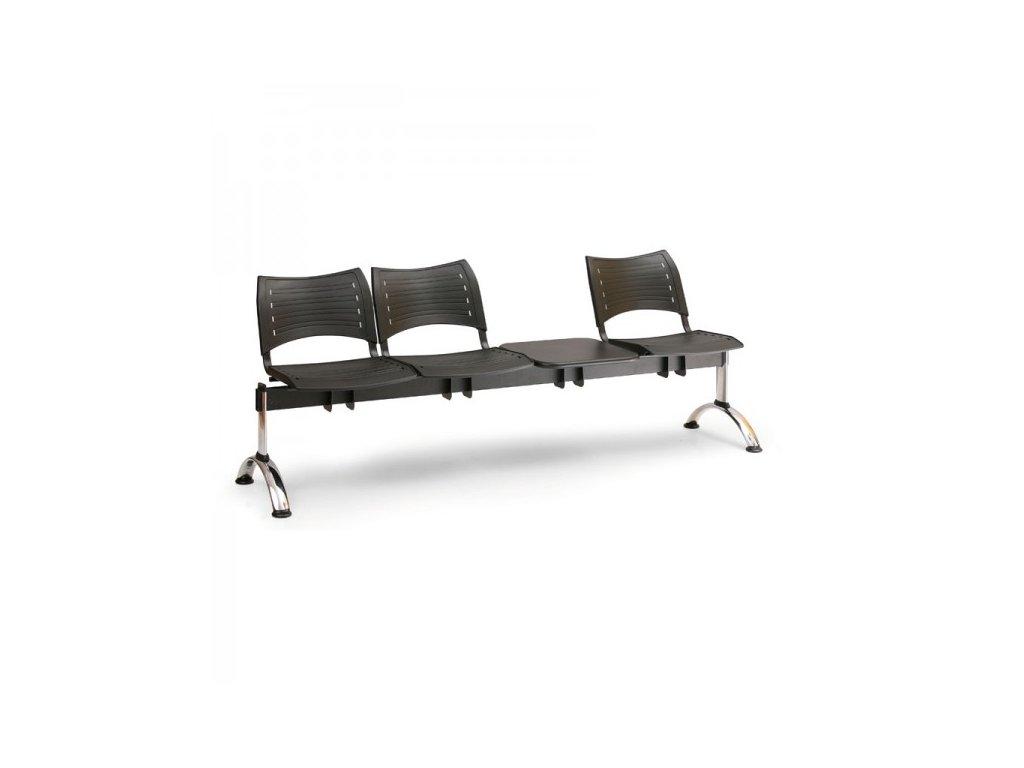 Plastová lavice VISIO, 3-sedák + stolek - chromované nohy