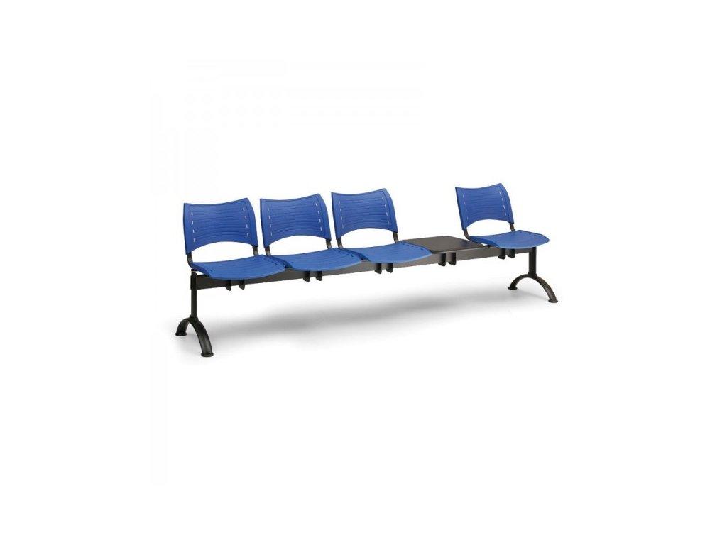 Plastová lavice VISIO, 4-sedák + stolek - černé nohy