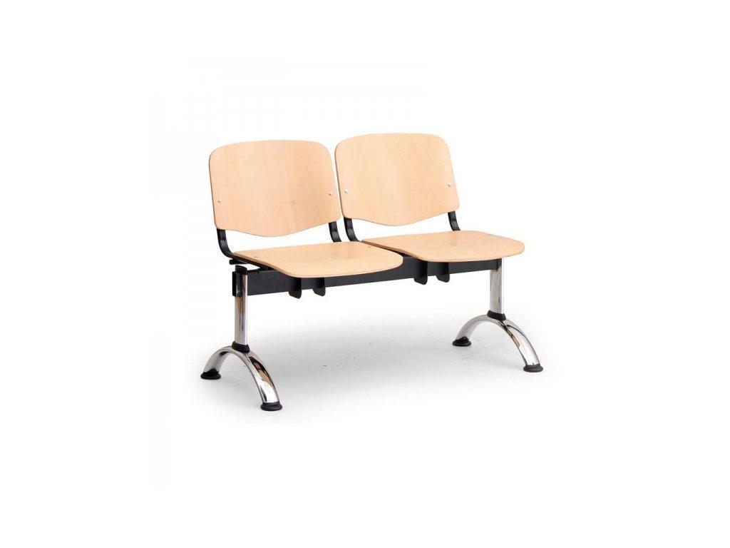 Dřevěná lavice ISO II, 2-sedák - chromované nohy / Buk