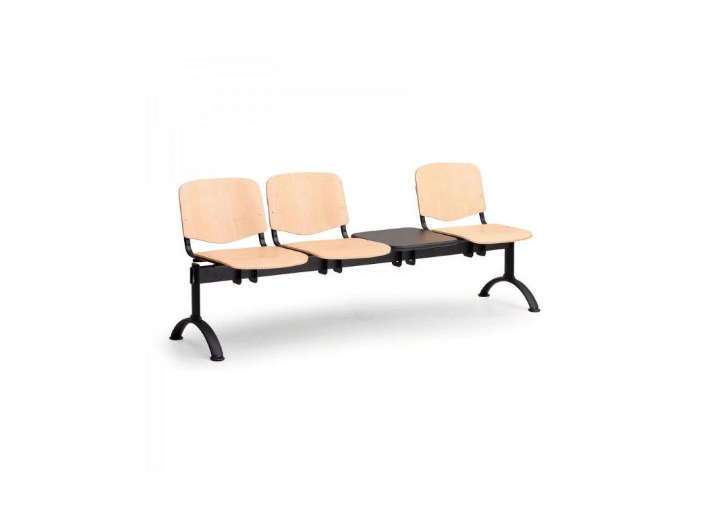 Dřevěná lavice ISO II, 3-sedák + stolek - černé nohy / Buk