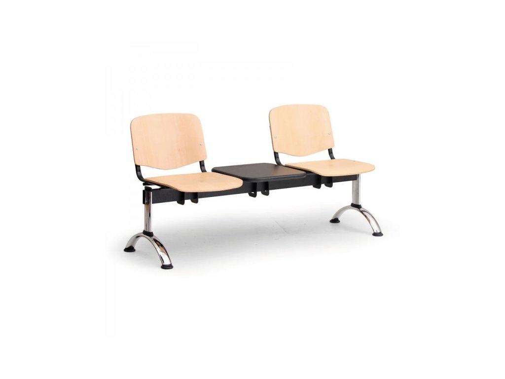 Dřevěná lavice ISO II, 2-sedák + stolek - chromované nohy / Buk