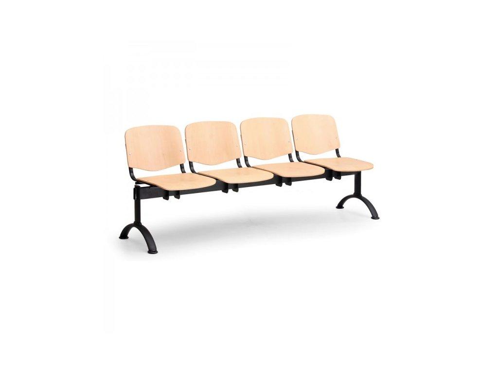 Dřevěná lavice ISO II, 4-sedák - černé nohy / Buk