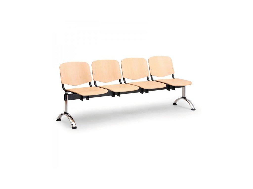 Dřevěná lavice ISO II 4-sedák - chromované nohy / Buk