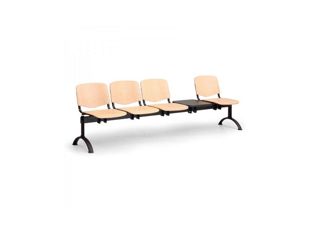 Dřevěná lavice ISO II, 4-sedák + stolek - černé nohy / Buk
