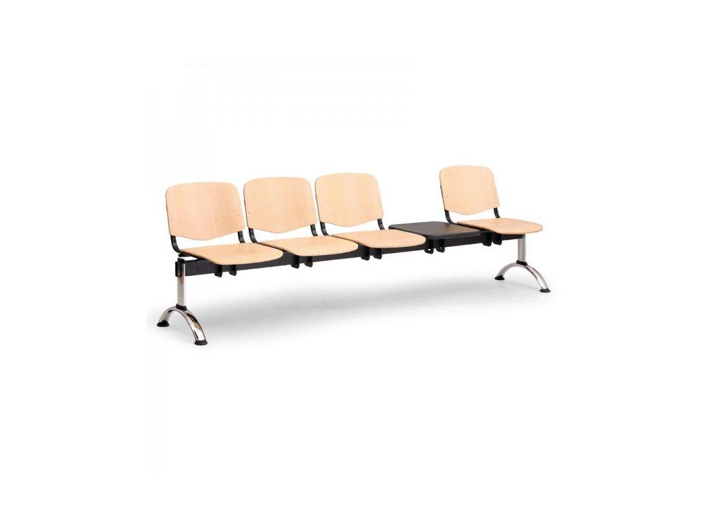 Dřevěná lavice ISO II, 4-sedák + stolek - chromované nohy / Buk