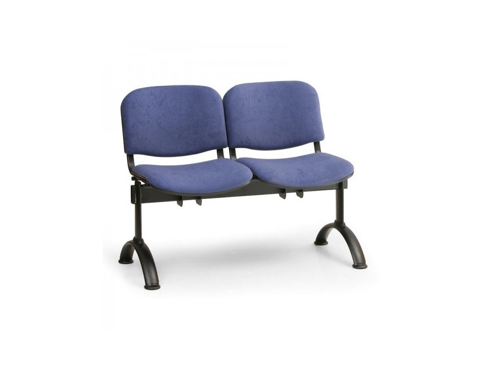 Čalouněná lavice VIVA, 2-sedák - černé nohy / Modrá