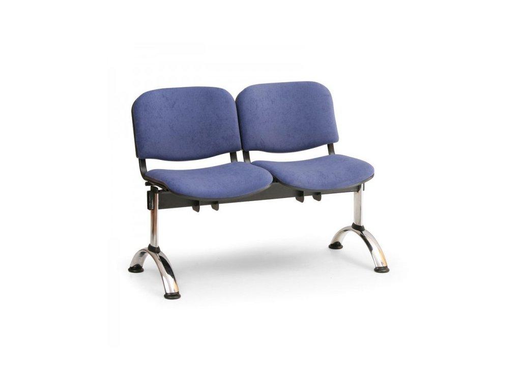 Čalouněná lavice VIVA, 2-sedák - chromované nohy / Modrá