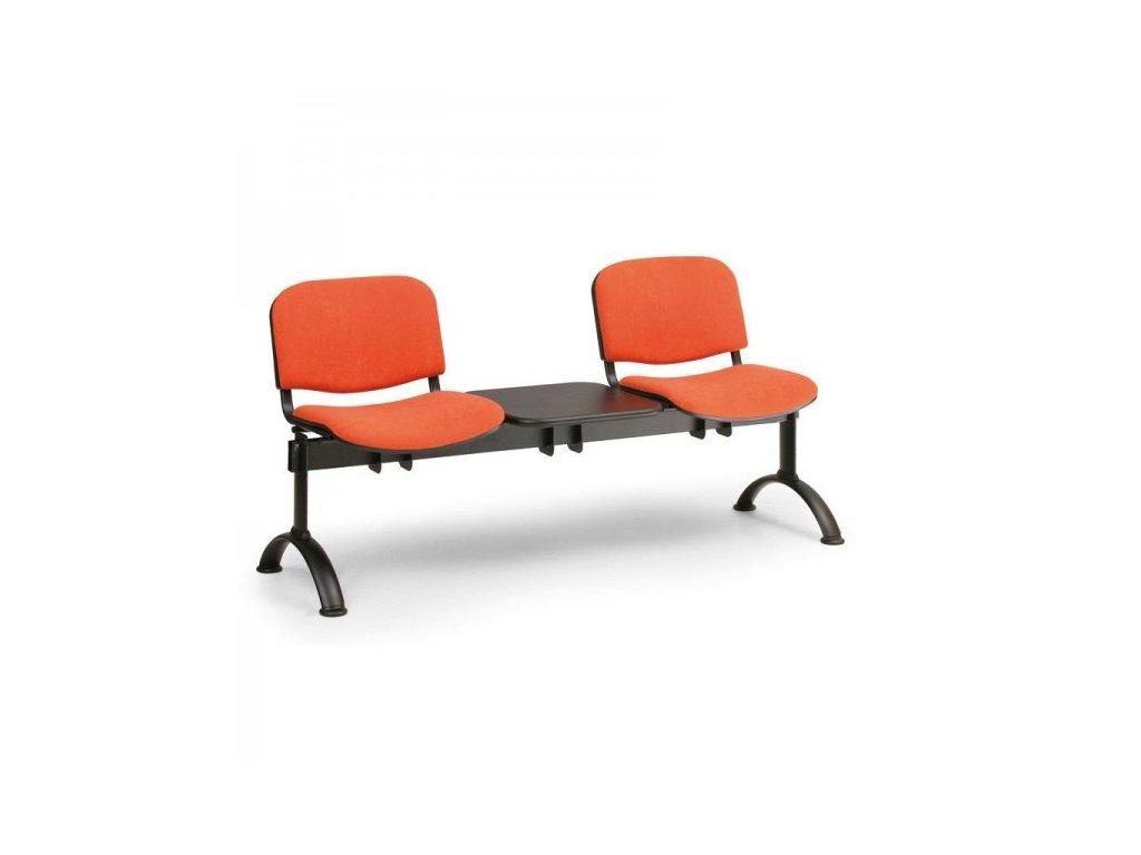 Čalouněná lavice VIVA, 2-sedák + stolek - černé nohy / Modrá