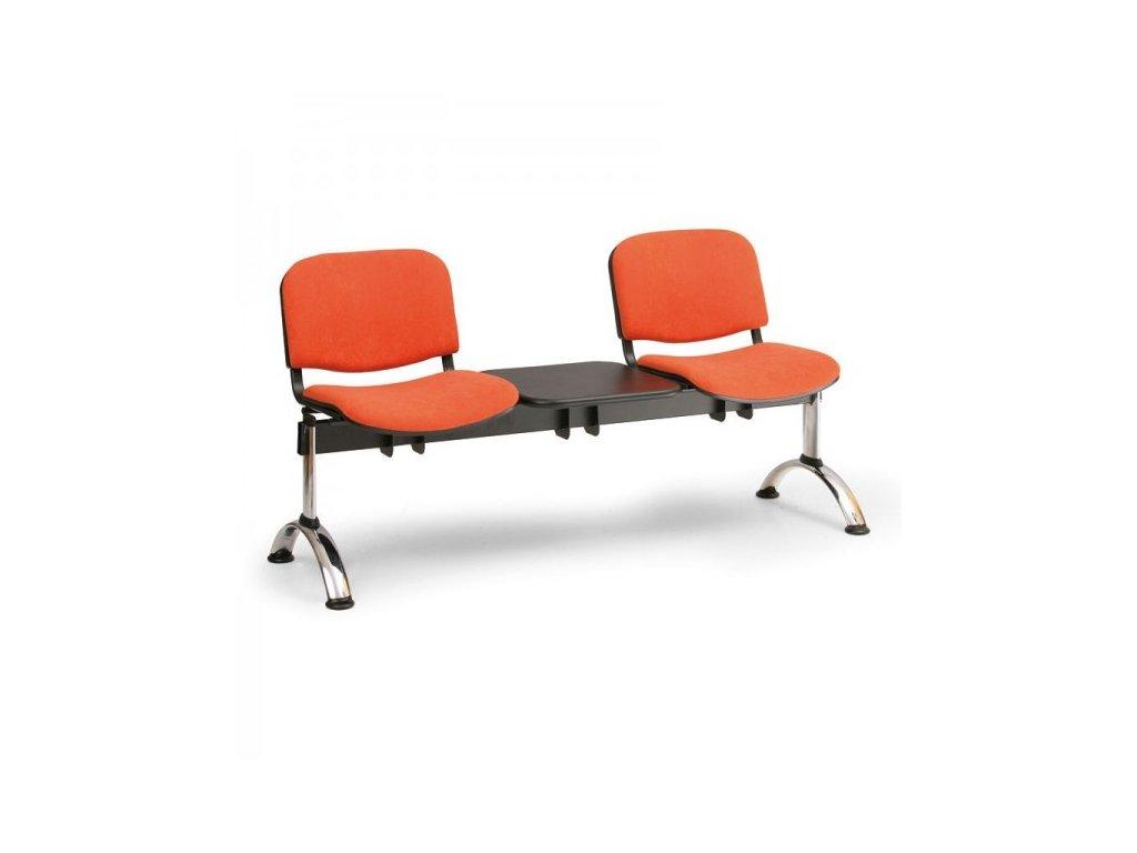 Čalouněná lavice VIVA, 2-sedák + stolek - chromované nohy / Červená