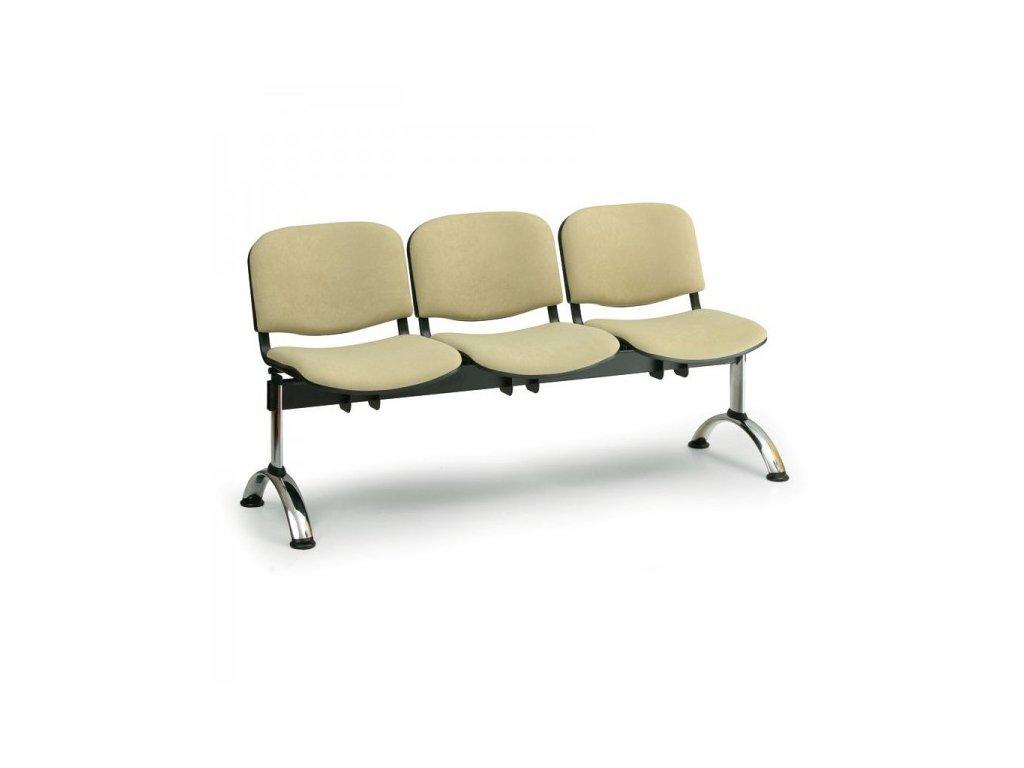 Čalouněná lavice VIVA, 3-sedák - chromované nohy / Modrá