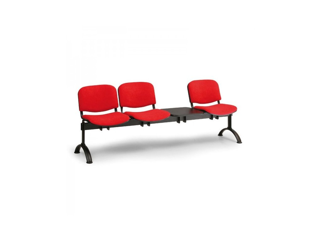Čalouněná lavice VIVA, 3-sedák + stolek - černé nohy / Červená