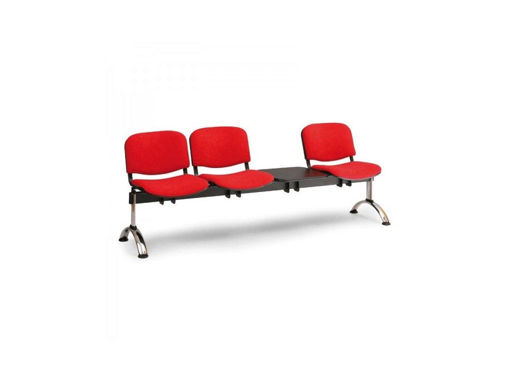 Čalouněná lavice VIVA, 3-sedák + stolek - chromované nohy / Červená