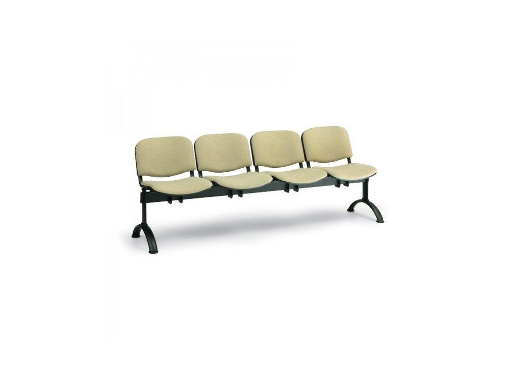 Čalouněná lavice VIVA, 4-sedák - černé nohy / Zelená