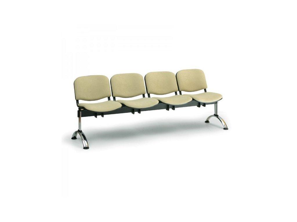 Čalouněná lavice VIVA, 4-sedák - chromované nohy / Červená