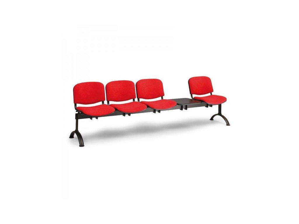 Čalouněná lavice VIVA, 4-sedák + stolek - černé nohy / Modrá