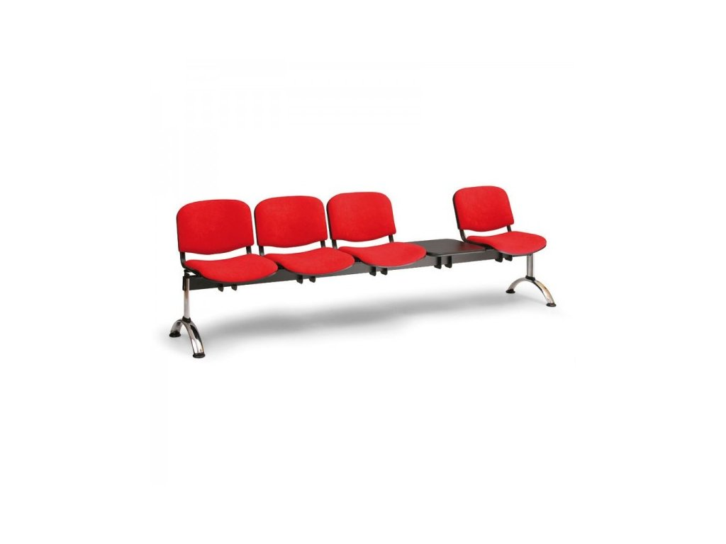 Čalouněná lavice VIVA, 4-sedák + stolek - chromované nohy / Černá