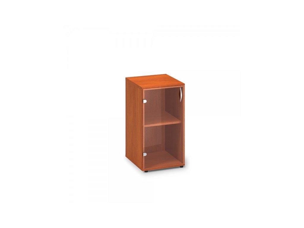 Nízká úzká skleněná skříň ProOffice 40 x 45,8 x 73,5 cm, levá / Třešeň
