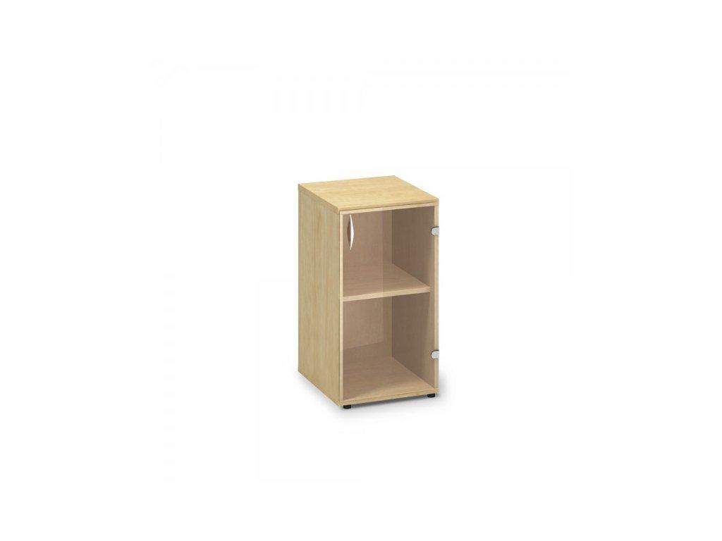 Nízká úzká skleněná skříň ProOffice 40 x 45,8 x 73,5 cm, pravá / Hruška