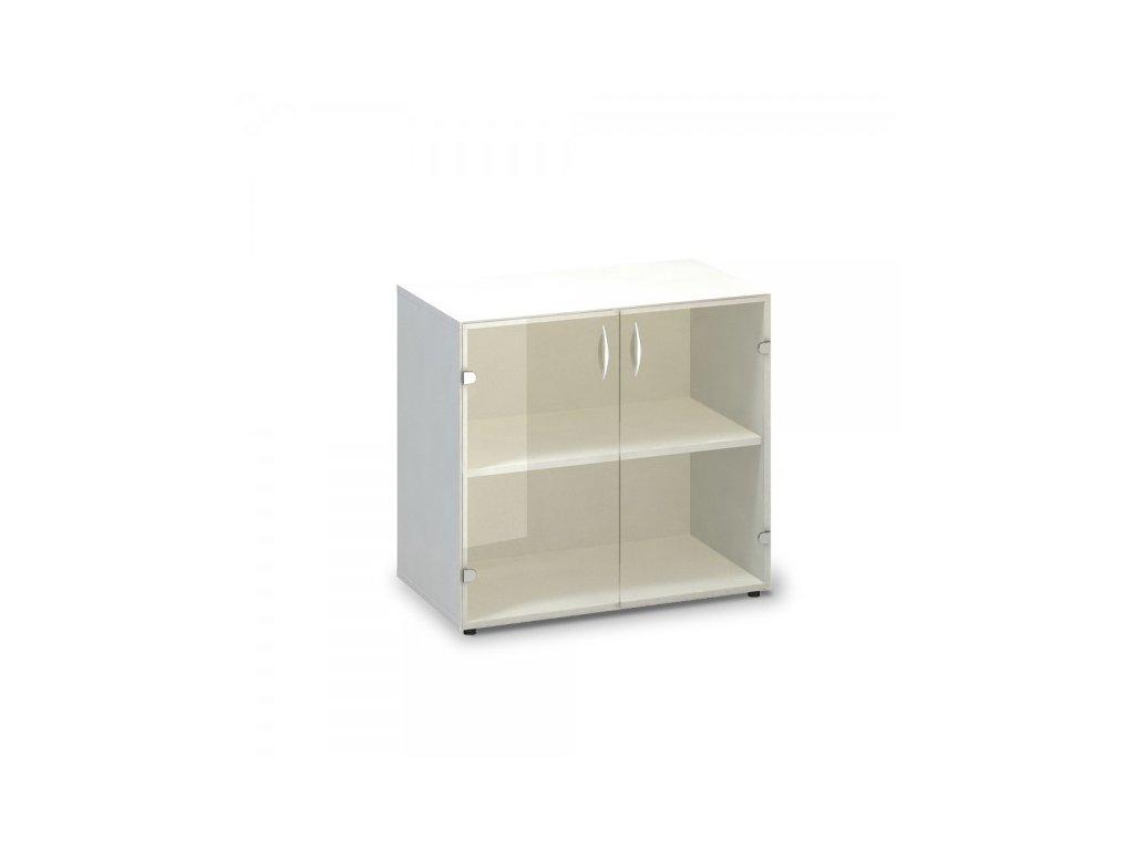 Nízká skleněná skříň ProOffice 80 x 45,8 x 74,2 cm / Bílá