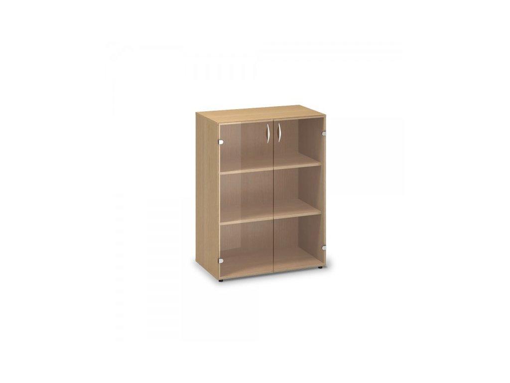 Střední skleněná skříň ProOffice 80 x 45,8 x 106,3 cm / Buk