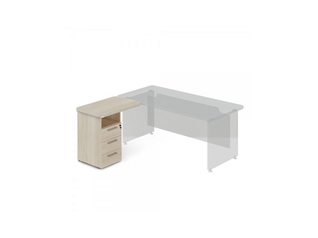 Přístavný kontejner TopOffice, levý, 90 x 55 cm / Světlý akát