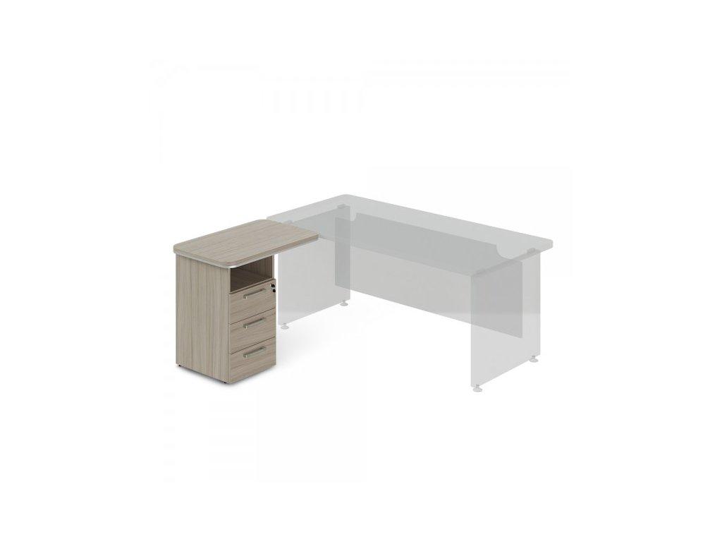 Přístavný kontejner TopOffice, levý, 90 x 55 cm / Driftwood