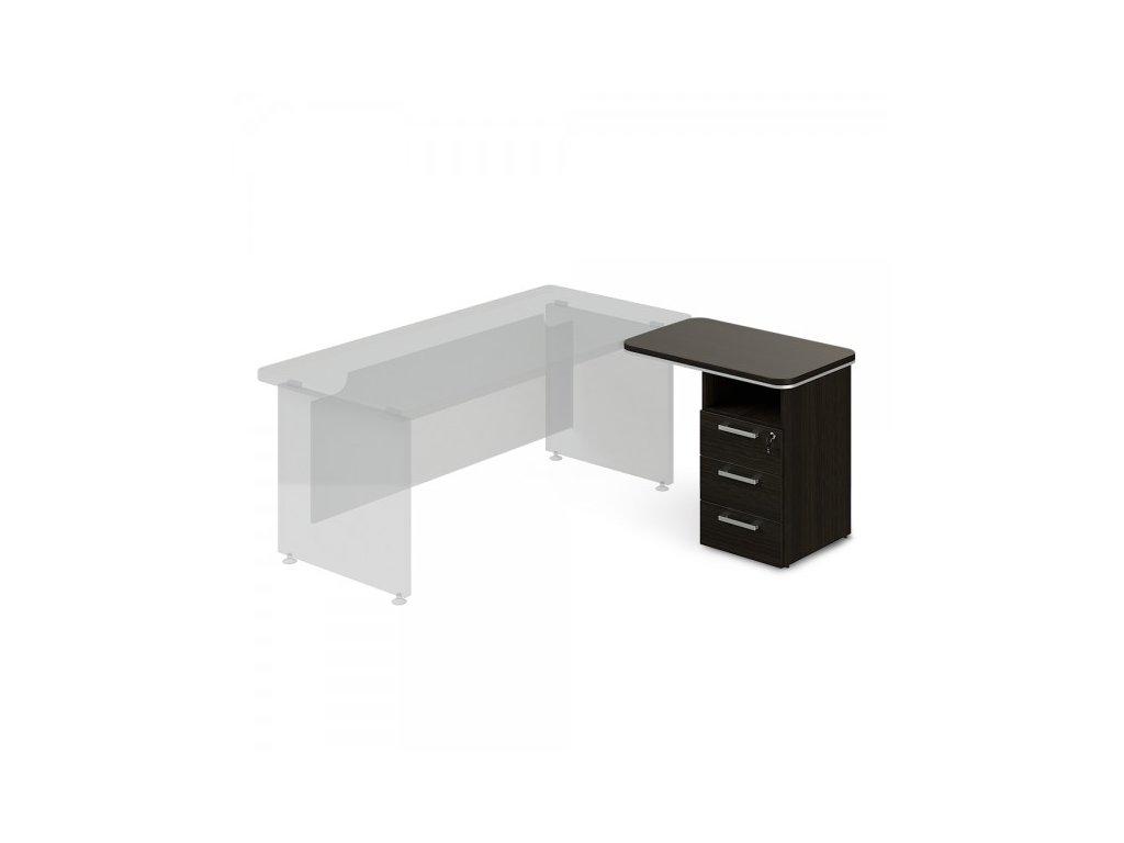 Přístavný kontejner TopOffice, pravý, 90 x 55 cm / Wenge