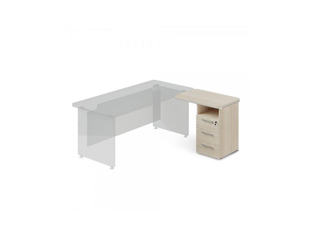 Přístavný kontejner TopOffice, pravý, 90 x 55 cm / Světlý akát