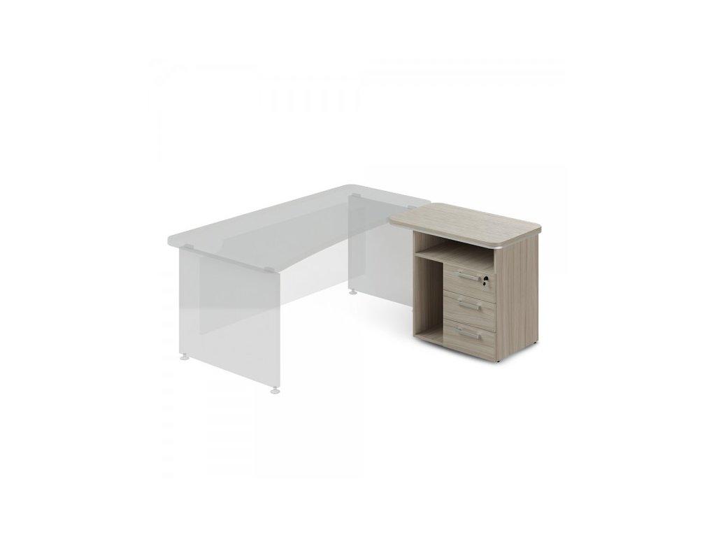 Přístavný kontejner TopOffice, pravý, 90 x 55 cm / Driftwood