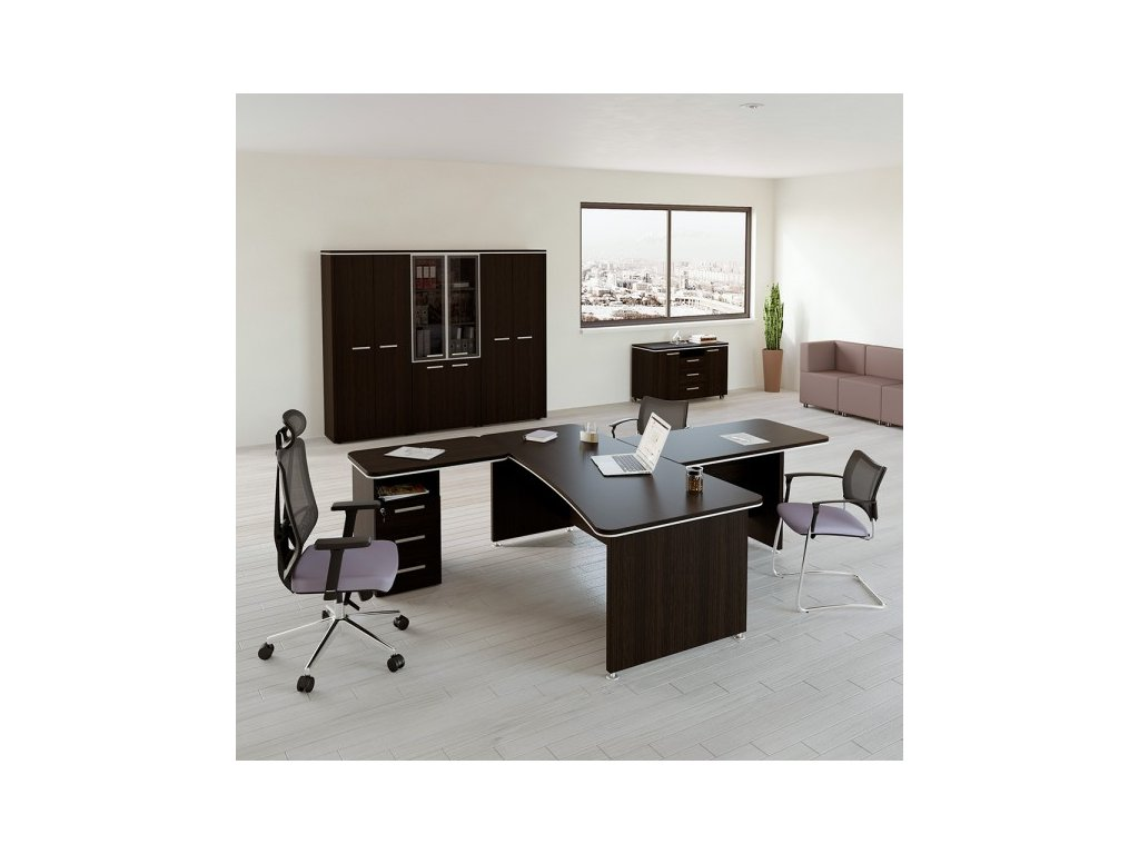 Sestava kancelářského nábytku TopOffice 1 / Wenge