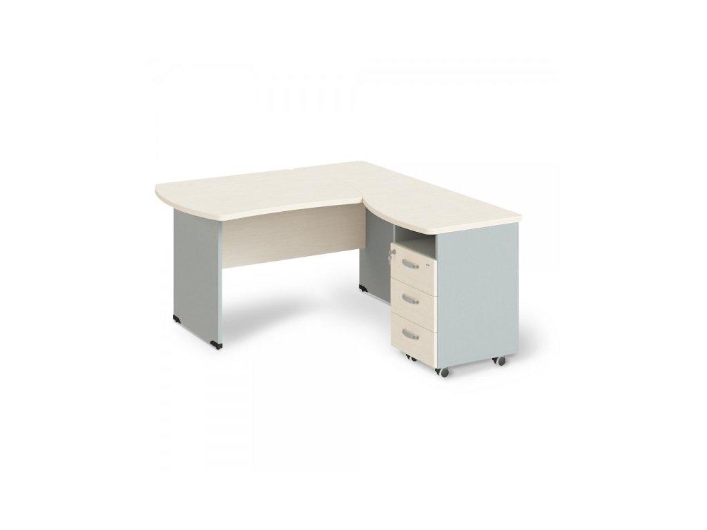 Rohové pracovní místo Manager, pravé, 200 x 160 cm / Bříza