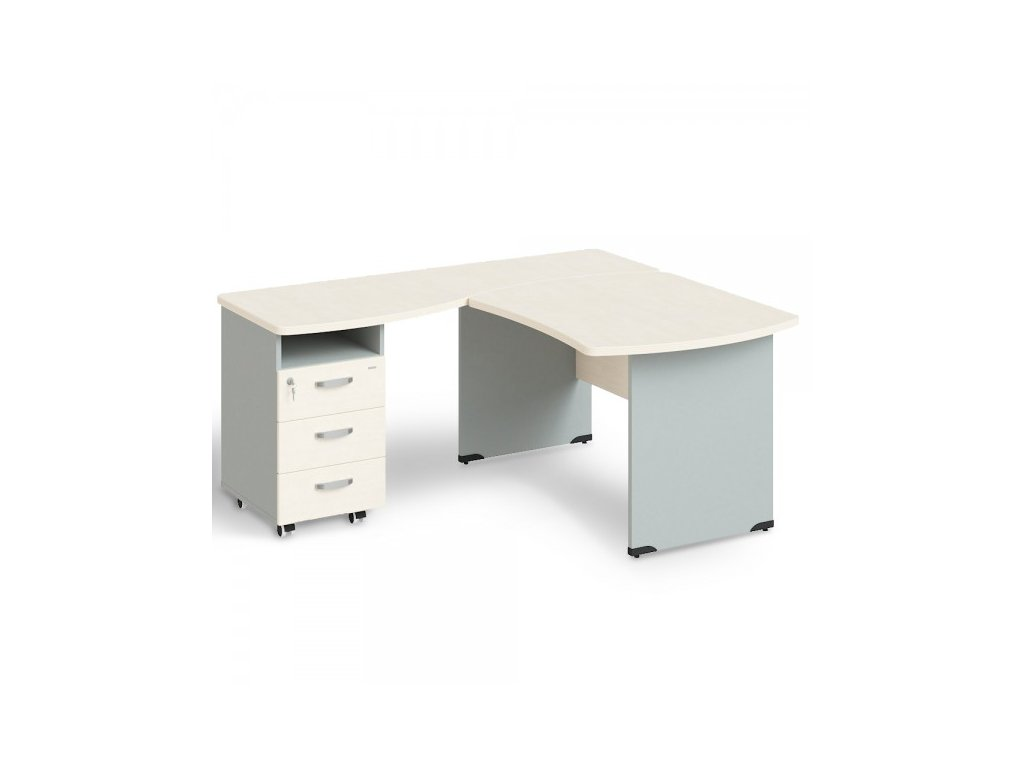 Rohové pracovní místo Manager, levé, 180 x 160 cm / Bříza