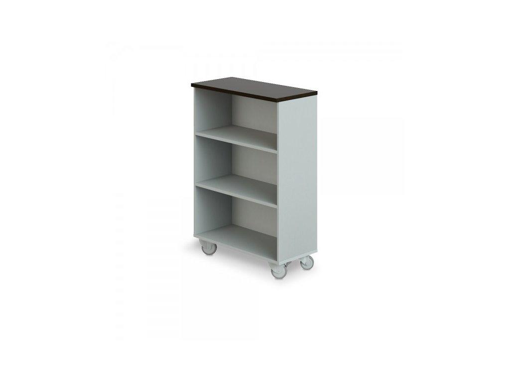 Střední široká skříň Manager LUX, pojízdná, 90 x 43 x 129,2 cm / Wenge