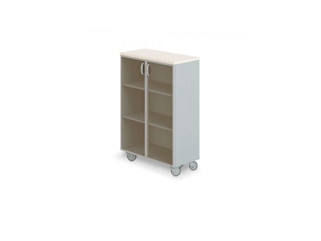 Střední široká skříň Manager LUX, pojízdná, 90 x 43 x 129,2 cm / Bříza